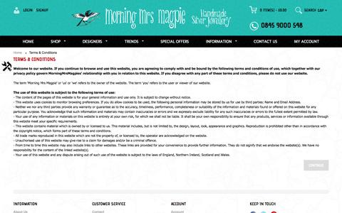 Screenshot of Terms Page morningmrsmagpie.com - Terms & Conditions - captured Oct. 26, 2014