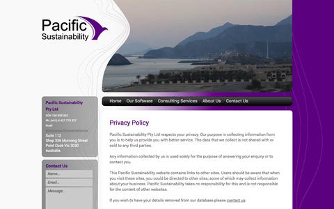 Screenshot of Privacy Page pacificsustainability.com - Route Selection Software, Environmental Consulting | Pacific Sustainability - captured Oct. 1, 2014