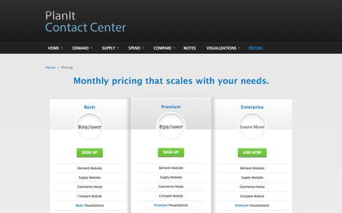 Screenshot of Pricing Page planitcc.com - Pricing | PlanIt Contact Center - captured Oct. 2, 2014