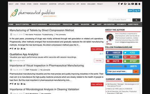 Screenshot of Home Page pharmaguideline.com - Pharmaceutical Guidelines : Total Pharmaceutical Solution - captured Sept. 28, 2018