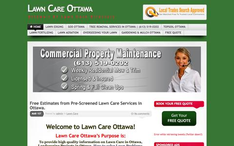 Screenshot of Home Page lawncareottawa.com - Lawn Care Ottawa, Get Free estimates for Lawn Care Services - captured Oct. 2, 2014