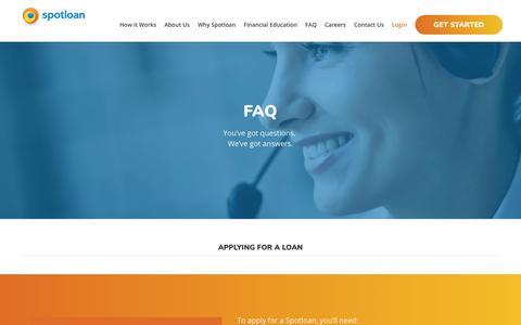 Screenshot of FAQ Page spotloan.com - FAQ - Learn More About Loans Online | Spotloan - captured Sept. 26, 2018