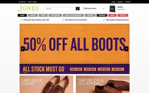 Screenshot of Home Page jonesbootmaker.com - Shoes & Boots | Jones Bootmaker - captured Jan. 9, 2016