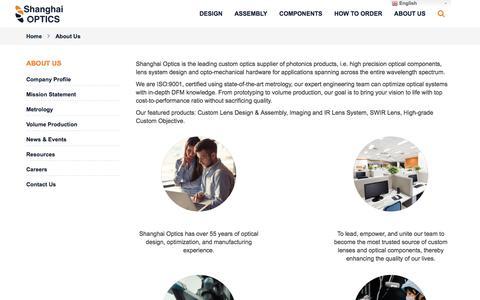 Screenshot of About Page shanghai-optics.com - About Us | Shanghai Optics - captured Sept. 20, 2018