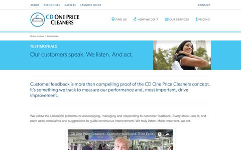 Screenshot of Testimonials Page cdonepricecleaners.com - Reviews | CD One Price Cleaners - captured Sept. 25, 2018