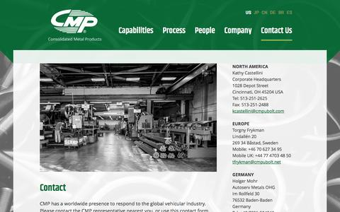 Screenshot of Contact Page cmpubolt.com - Contact Us - Consolidated Metal Products - captured Nov. 11, 2016