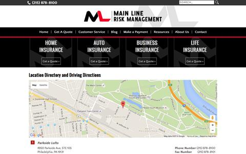 Screenshot of Locations Page platyaninsurance.com - Main Line Risk Management Locations and Driving Directions - captured Jan. 29, 2016