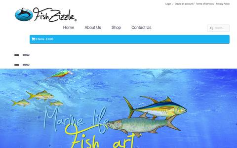 Screenshot of Home Page fishzizzle.com - FishZizzle – Marine Life Art, prints, canvas prints, framed prints, acrylic prints, kids, youth t-shirts, tile art, fish mats, online art fishing, ocean, salt life, fishing life - captured Jan. 8, 2016