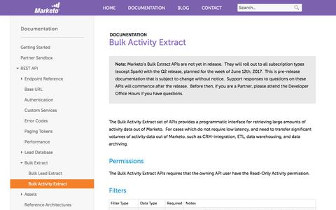 Screenshot of marketo.com - Bulk Activity Extract - Marketo Developers - captured June 8, 2017