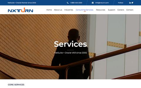 Screenshot of Services Page nxturn.com - Services - NXTurn - NetSuite Solution Provider Partner - captured Sept. 25, 2018