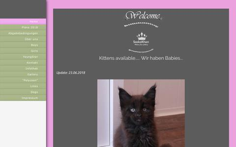 Screenshot of Home Page saskakhan.de - SaskaKhan Maine Coon Cattery - Home - captured June 27, 2018
