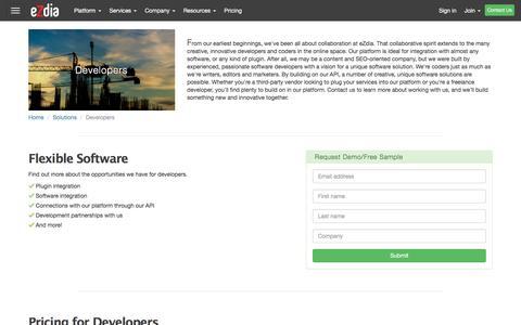 Screenshot of Developers Page ezdia.com - Developers | eZdia - captured Dec. 14, 2015