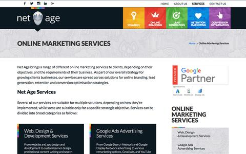 Screenshot of Services Page netage.co.za - Online Marketing Services - Net Age - captured Sept. 20, 2018
