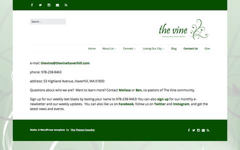 Screenshot of Contact Page thevinehaverhill.com - Contact Us | The Vine Haverhill - captured Oct. 10, 2014
