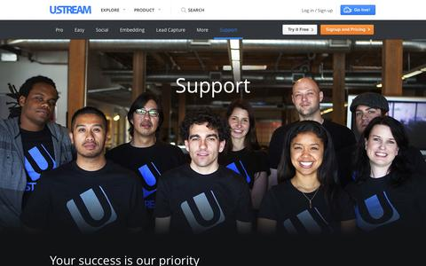 Screenshot of Support Page ustream.tv - Ustream Pro Broadcasting: Live streaming without the ads - captured Oct. 28, 2014