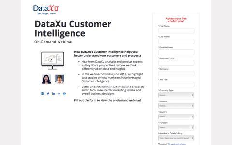 Screenshot of Landing Page dataxu.com - Webinar Replay: Customer Intelligence and analytics - captured Aug. 17, 2016