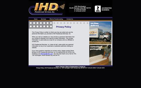 Screenshot of Privacy Page ihdpowdercoat.com - Privacy Policy - captured Oct. 3, 2014