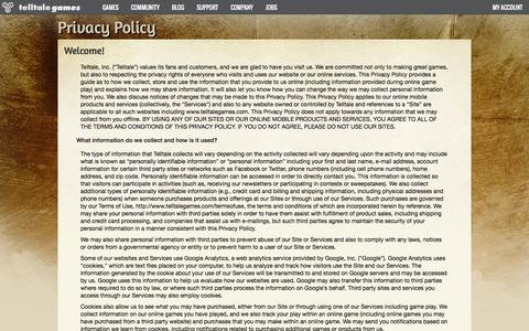 Screenshot of Privacy Page telltalegames.com - Telltale Games - Privacy Policy - captured June 16, 2015
