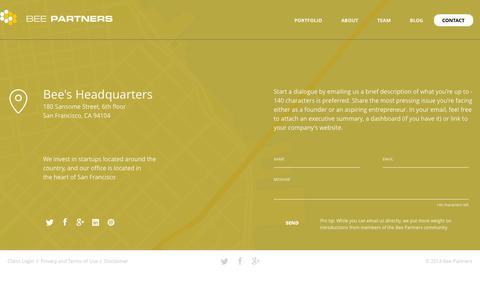 Screenshot of Contact Page beepartners.vc - Bee Partners « Contact Bee Partners - captured Sept. 30, 2014