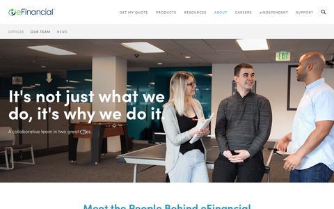 Screenshot of Team Page efinancial.com - Our Team | eFinancial - captured July 16, 2018