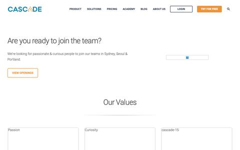 Screenshot of Jobs Page executestrategy.net - Careers at Cascade - captured June 3, 2019