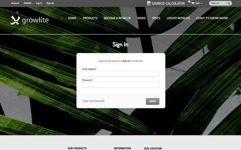 Screenshot of Login Page growlite.com - Customer Login - captured Oct. 3, 2014