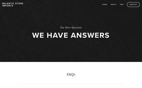 Screenshot of FAQ Page majesticstoneimports.com - FAQs — MAJESTIC STONE IMPORTS - captured Nov. 5, 2018
