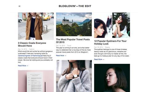 Screenshot of Blog bloglovin.com - Bloglovin'—the Edit - captured Dec. 20, 2015