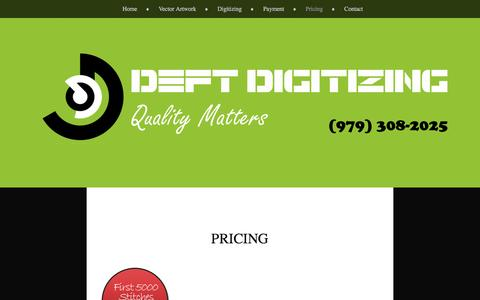 Screenshot of Pricing Page wordpress.com - Pricing | Deft Digitizing - captured Aug. 1, 2016