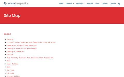 Screenshot of Site Map Page corenatherapeutics.com - Site Map – Corena Therapeutics - captured July 22, 2018
