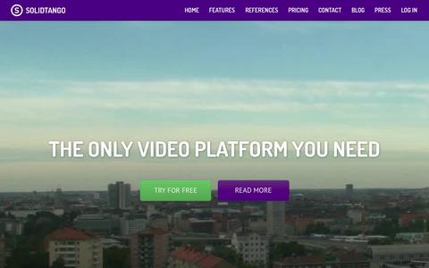 Screenshot of Home Page solidtango.com - Solidtango   The online video platform - captured Oct. 2, 2015