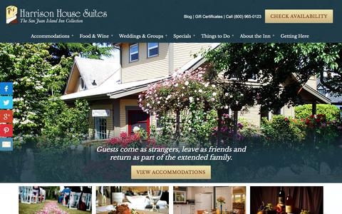 Screenshot of Home Page harrisonhousesuites.com - San Juan Island Lodging and Friday Harbor Accommodations - captured Oct. 27, 2016