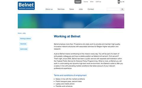 Screenshot of Jobs Page belnet.be - Working at Belnet | www.belnet.be - captured July 29, 2016
