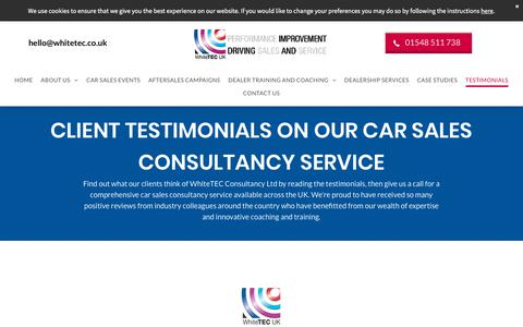 Screenshot of Testimonials Page whitetec.co.uk - Testimonials | UK | WhiteTEC Consultancy Ltd - captured Aug. 9, 2019