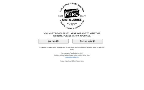 Screenshot of Products Page boydandblair.com - Shop Our Products | Pennsylvania Pure Distilleries - captured Sept. 27, 2018