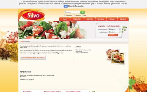 Screenshot of Contact Page silvo.nl - Contact | Silvo - captured Oct. 27, 2014