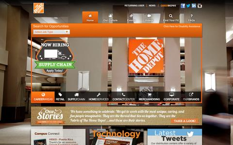 Screenshot of Jobs Page homedepot.com - Home Depot Careers - captured Dec. 21, 2015