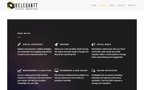 Screenshot of Services Page belegantt.com - Nuestros servicios de Marketing Digital | Belegantt - captured June 1, 2017