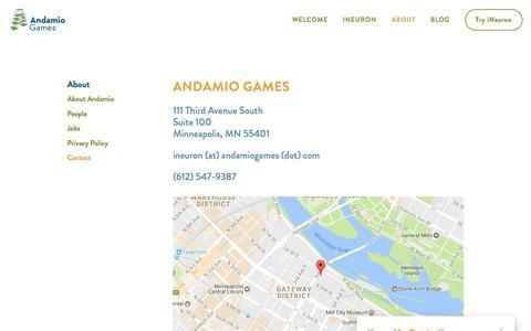 Screenshot of Contact Page andamiogames.com - Contact — Andamio Games - captured May 30, 2017