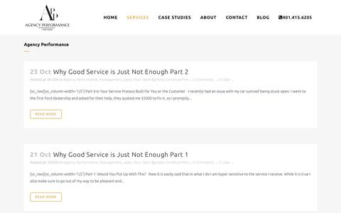 Screenshot of Services Page agencyperformancepartners.com - Agency Performance Partners |   Agency Performance - captured Oct. 27, 2014