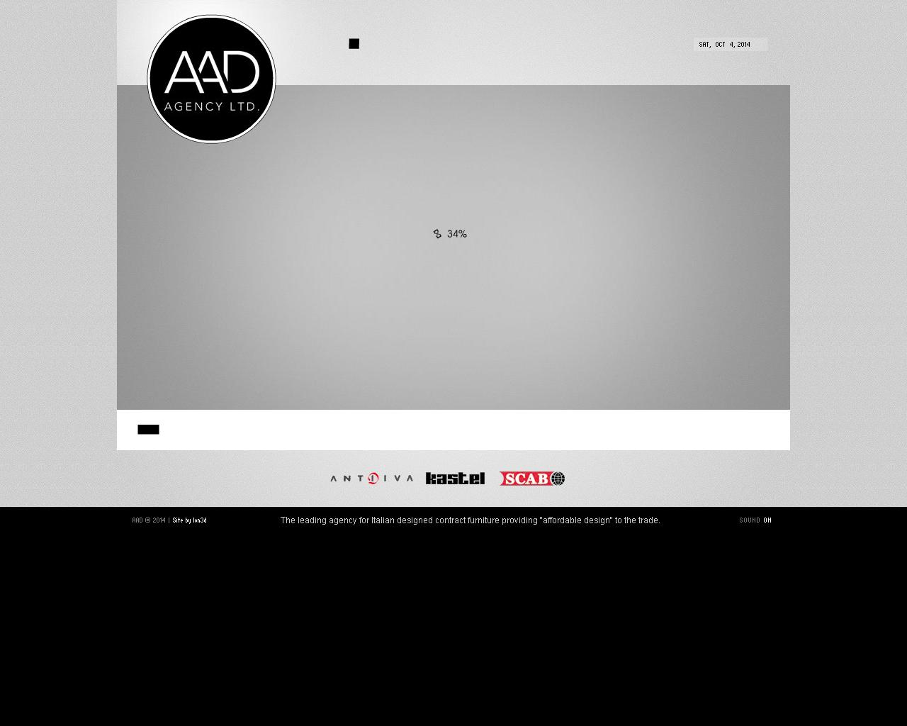 Screenshot of aadagency.com - AAD Agency - Brand management for the design industry. Furniture . Fashion . Interiors - captured Oct. 4, 2014