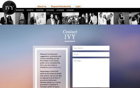 Screenshot of Contact Page ivy.com - Ivy - captured Sept. 16, 2014