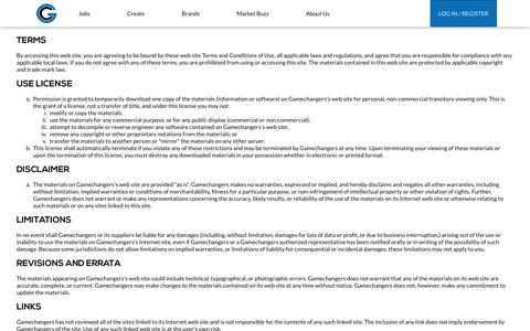 Screenshot of Terms Page gamechangersus.com - Gamechangers - captured July 17, 2017