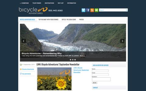 Screenshot of Blog bicycleadventures.com - Exit 22 – Bicycle Adventures - captured Sept. 30, 2014