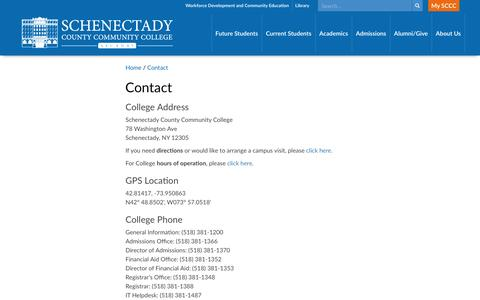 Screenshot of Contact Page sunysccc.edu - Schenectady County Community College > Home > Contact - captured Nov. 19, 2016