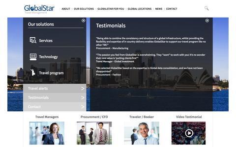 Screenshot of Testimonials Page globalstartravel.com - GlobalStar Travel Management - GlobalStar - captured Oct. 8, 2014