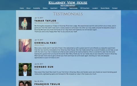 Screenshot of Testimonials Page killarneyviewhouse.com - Read why guest love Killarney View House - captured June 9, 2017