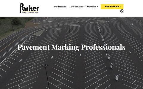 Screenshot of Home Page parkerlinestriping.com - Parking Lot Striping | DeKalb Asphalt Repair and Sealcoating | Parker Line - captured July 14, 2019