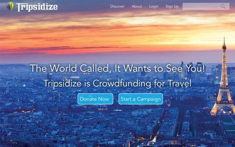 Screenshot of Home Page tripsidize.com - Tripsidize - Home - captured Aug. 15, 2015