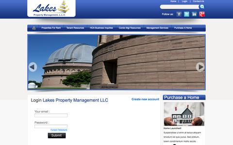Screenshot of Login Page lakespropertymgt.com - Welcome to Lakes Property Management LLC - captured Oct. 2, 2014
